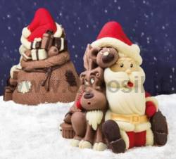 Santa Claus Bear and Reindeer Bell Shell mould
