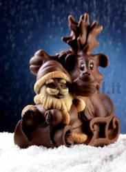 Moule Renne et le traîneau avec le Père Noël