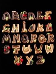 Moule Alphabet lettres majuscules décorées avec des fruits